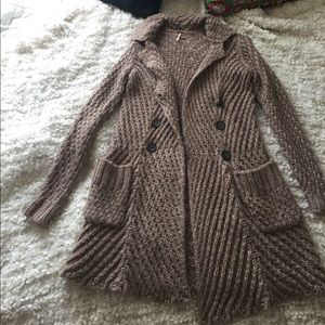 Free People Brown Button Up Sweater, XS